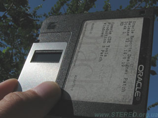 Floppy diskette as a filter for observing the Sun