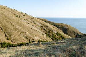 Среди этих холмов и запрятался вход на пляж
